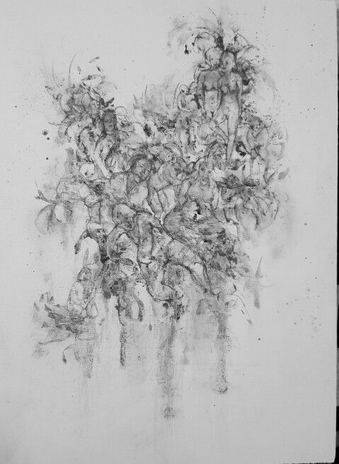 Drawing, graphite, charcoal and gesso on wood board