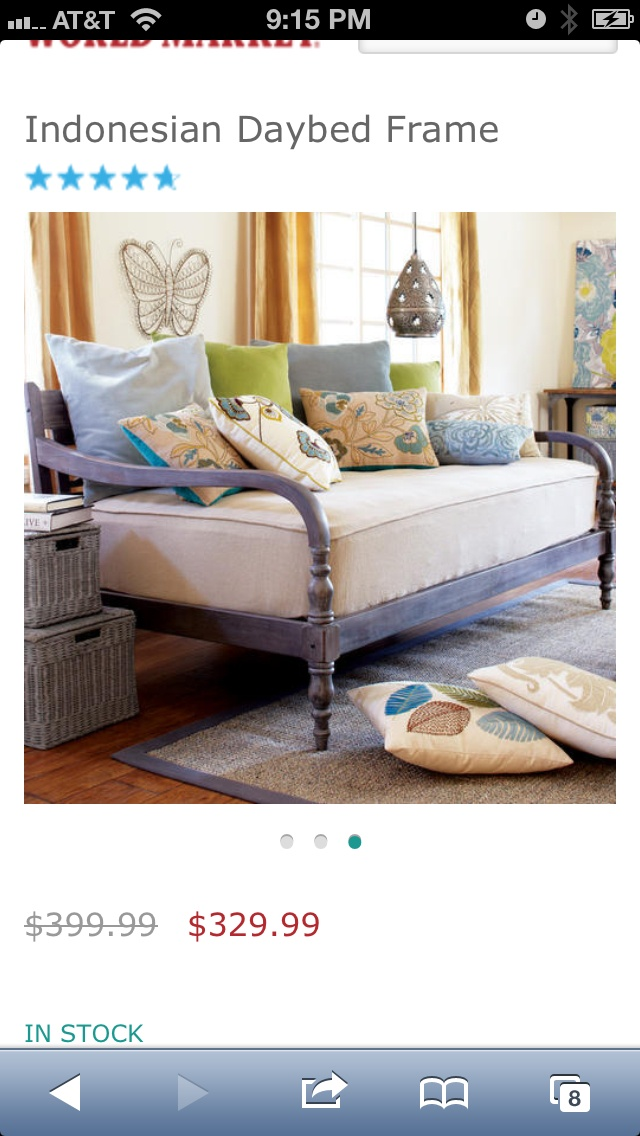 Indonesian Day Bed from World Market...I need this when I have a free room!