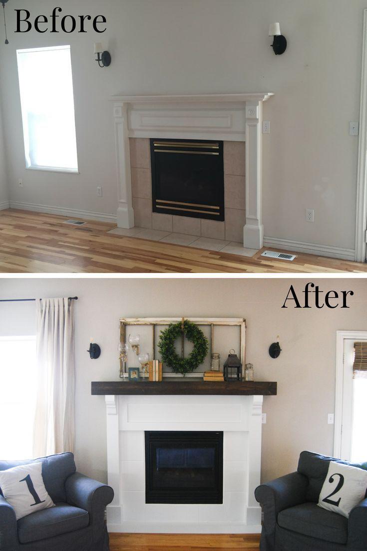 DIY Fireplace Makeover Before and After #livingroomremodelbeforeandafter   –  #F…