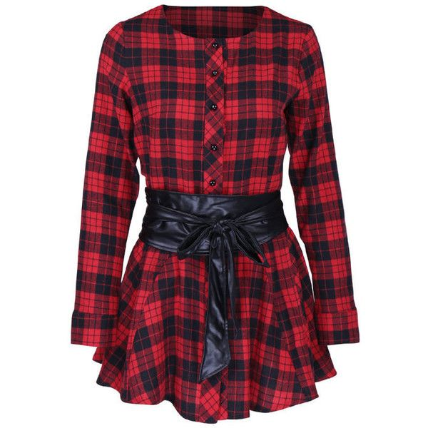 Round Neck Single Breasted Plaid Peplum Blouse (1,490 PHP) ❤ liked on Polyvore featuring tops, blouses, round neck blouse, red blouse, red peplum blouse, long blouse and red top