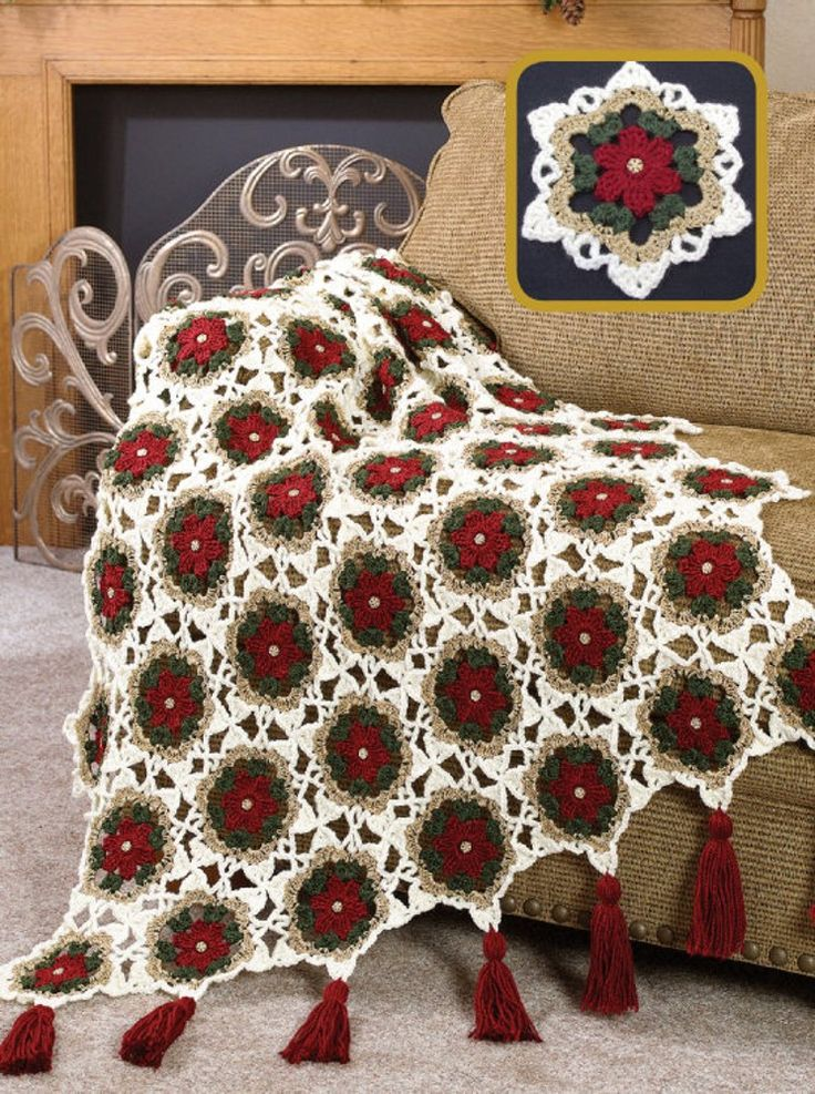 W628 Crochet Pattern Only Christmas Holiday Glitter Afghan