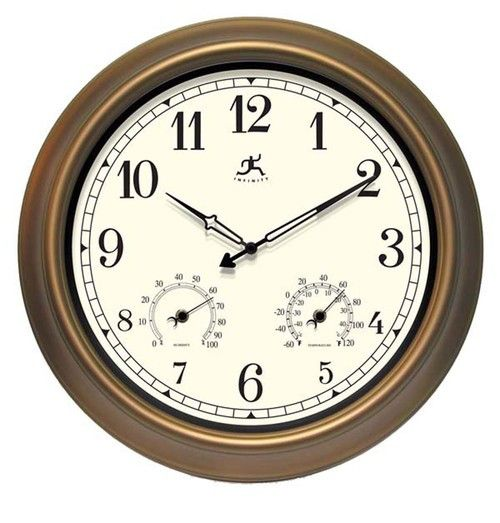 """The Craftsman Wall Clock. The Craftsman is a traditional style indoor/outdoor wall clock. Has easy to read numbers and a hygrometer and thermometer. With it's bronze finished steel case this beautifully crafted clock will look great in any outdoor setting.  Size: 18"""" Round Diameter"""