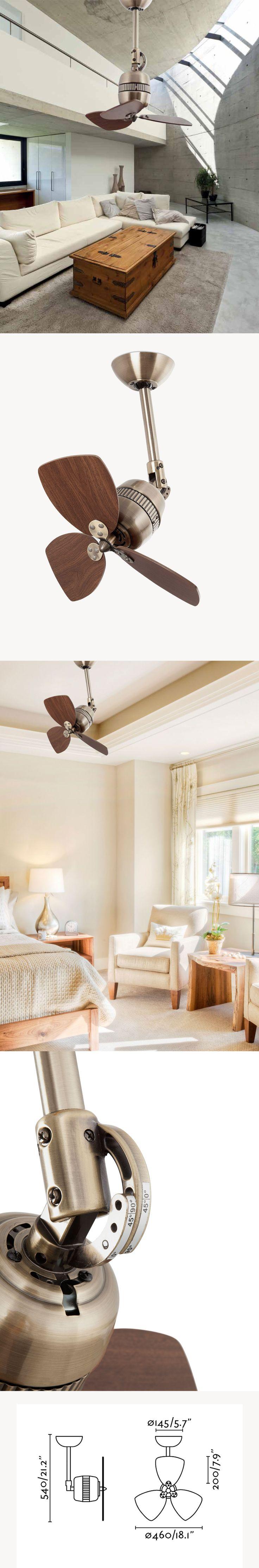 Ανεμιστήρας οροφής από αλουμίνιο σε μπρούτζινο χρώμα σε vintage style με φύλλα καρυδιάς! Μοναδική αισθητική και λειτουργικότητα, κατάλληλος για κεκλιμένη οροφή!