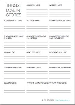 What do you love in a story? List it in this #writing worksheet.