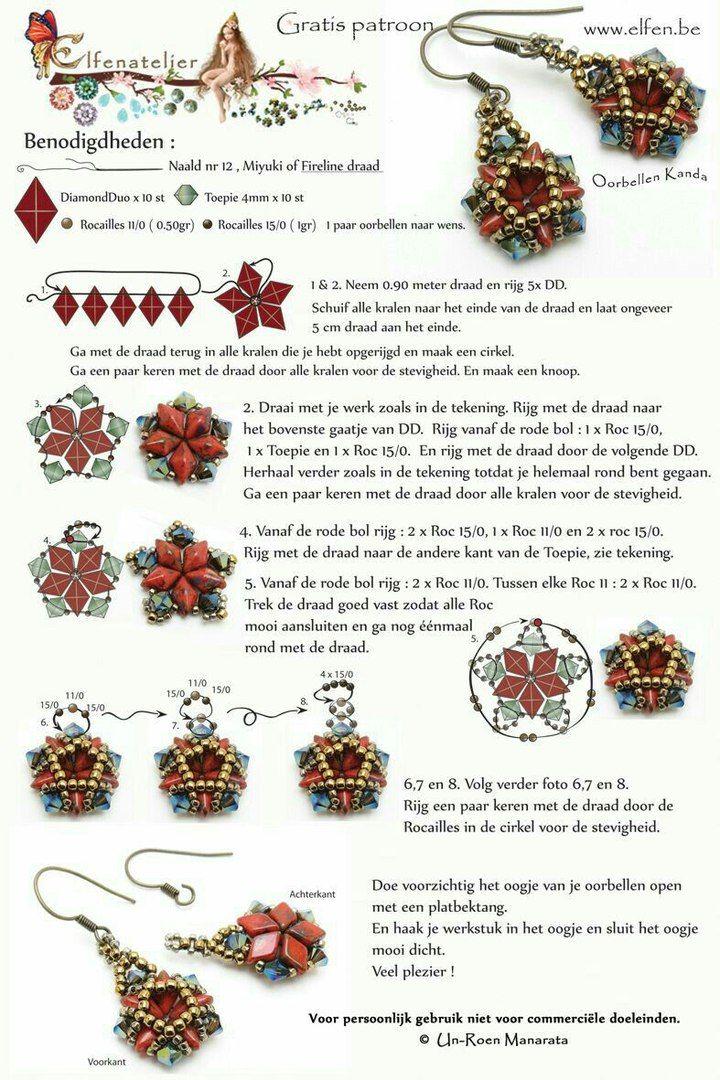 Diamondduo earrings ~ Seed Bead Tutorials