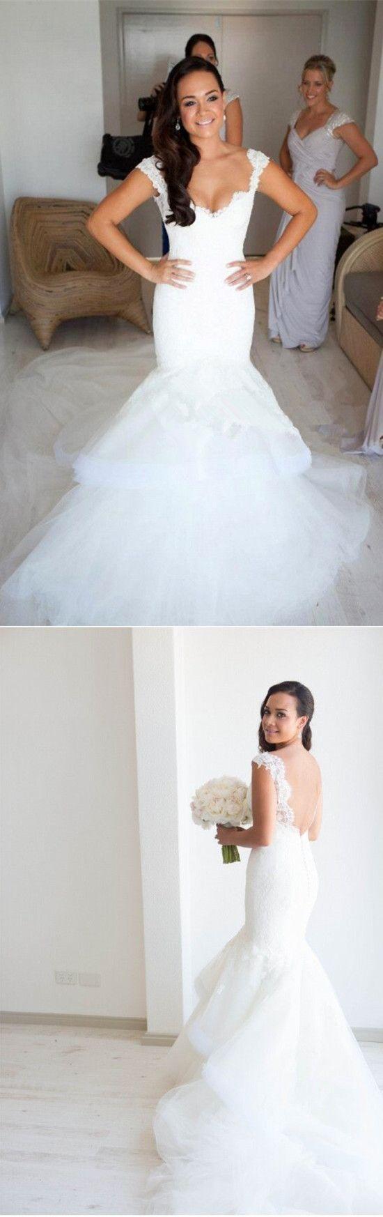white long wedding dress, 2017 long wedding dress, backless wedding dress, mermaid wedding dress