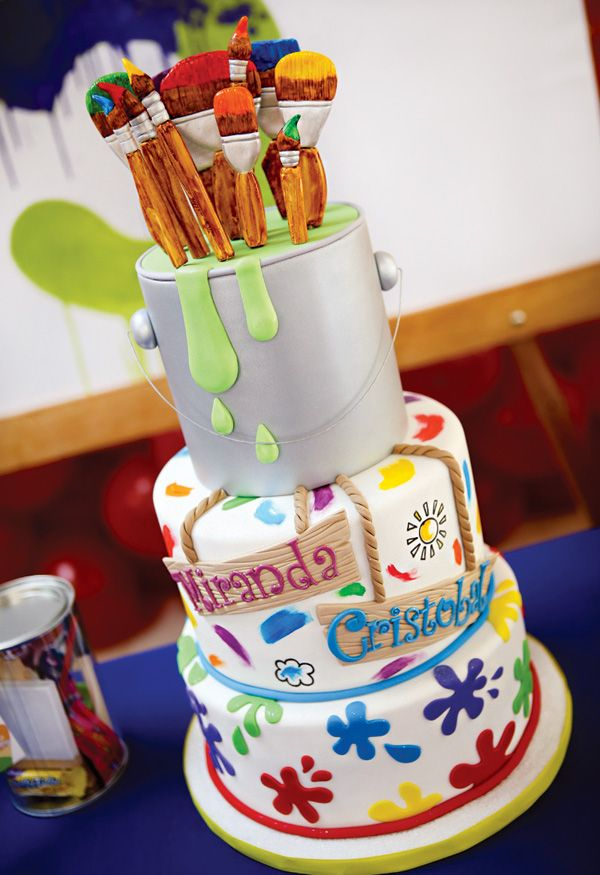 Twins Super Sized Rainbow Art Birthday Party: Fondant paint brush & paint can topped rainbow paint splatter cake