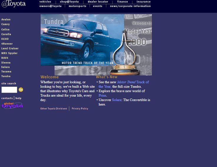 Toyota website in 2000
