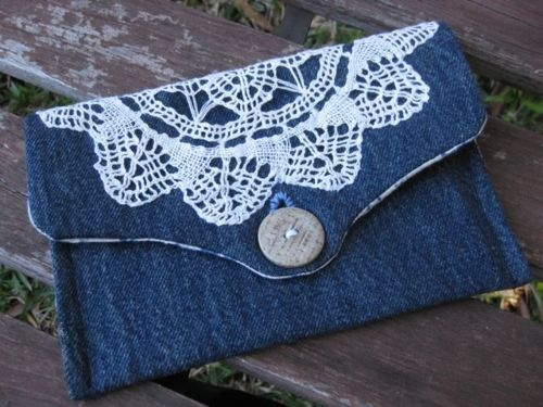 recycled denim...Emily you could crochet something pretty to go on this and have a matching wallet
