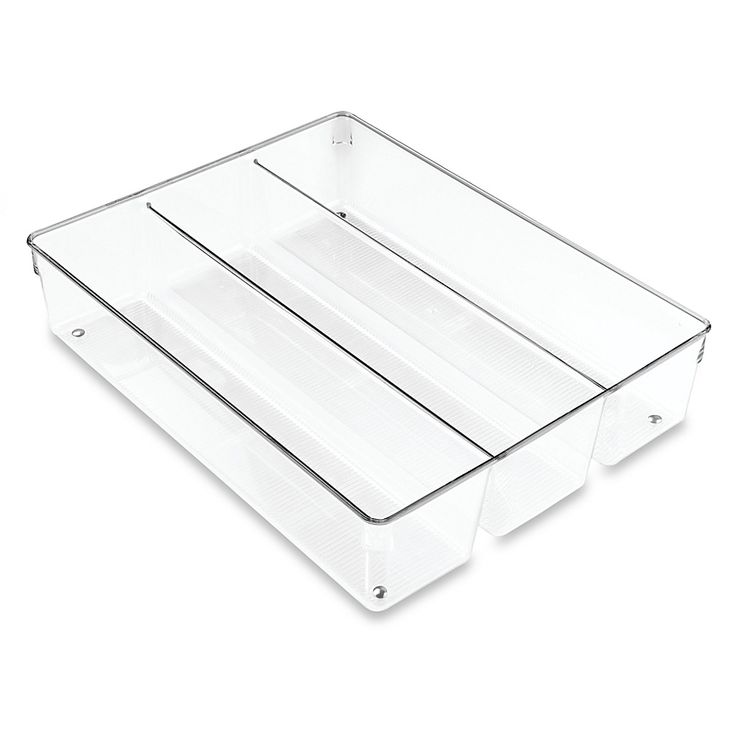 Featuring 3 departments, the InterDesign Linus Grand Utensil Organizer is perfect for organizing cutlery, utensils and other kitchen tools. Made from durable clear plastic with ribbing details and chrome accents. Fits most standard drawers. Tool Drawer Organizer, Acrylic Drawer Organizer, Utensil Drawer Organization, Drawer Organisers, Kitchen Organization, Organization Ideas, Organizing, Tool Drawers, Basket Drawers