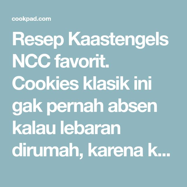 Resep Kaastengels NCC favorit. Cookies klasik ini gak pernah absen kalau lebaran dirumah, karena kebanyakan wak wak om tante kebanyakan menghindari yang manis manis. Jadi ini pasti jadi inceran. Aroma keju edamnya berasa banget. Bisa dicoba yuk buat yang mau natal.