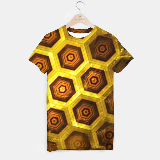 Gold Honeycombs T-shirt, Live Heroes @liveheroes by @photography_art_decor. All product: https://liveheroes.com/en/brand/oksana-fineart #fashion #clothing #online #shop #gold #golden #honeycombs #honey #bee #summer #graphic #design #geometry #geometric #yellow #metalic #bright #shine #pattern #psychedelic #abstract #metalic #sun #abstract #briht #pattern  #trendy #stylish #fashionable #modern #awesome #amazing #clothes