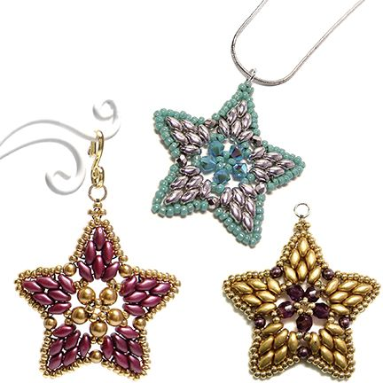Starlight - full tute.  Use as earrings, pendant, component or ornament from Deb Roberti, Around the Beading Table.  ~ Seed Bead Tutorials