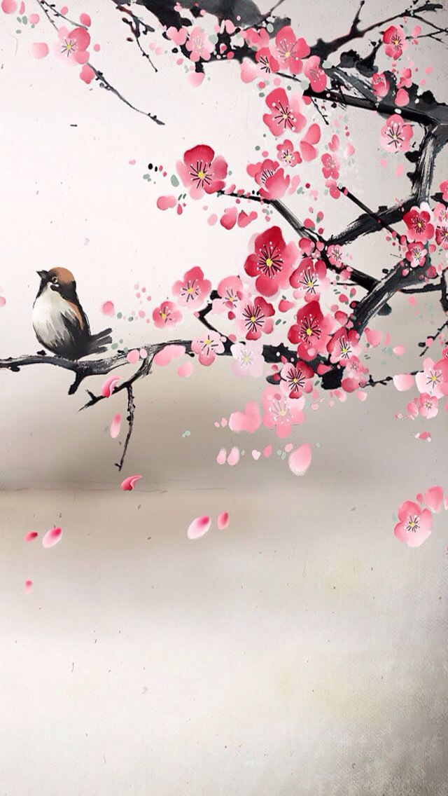Painting of bird and cherry blossoms reminiscent of for Oriental style wallpaper uk