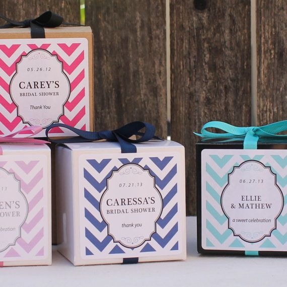 18 - Chevron Design Personalized Favor Boxes - ANY COLOR - wedding favors, party favors, baby shower favors, bridal shower favors