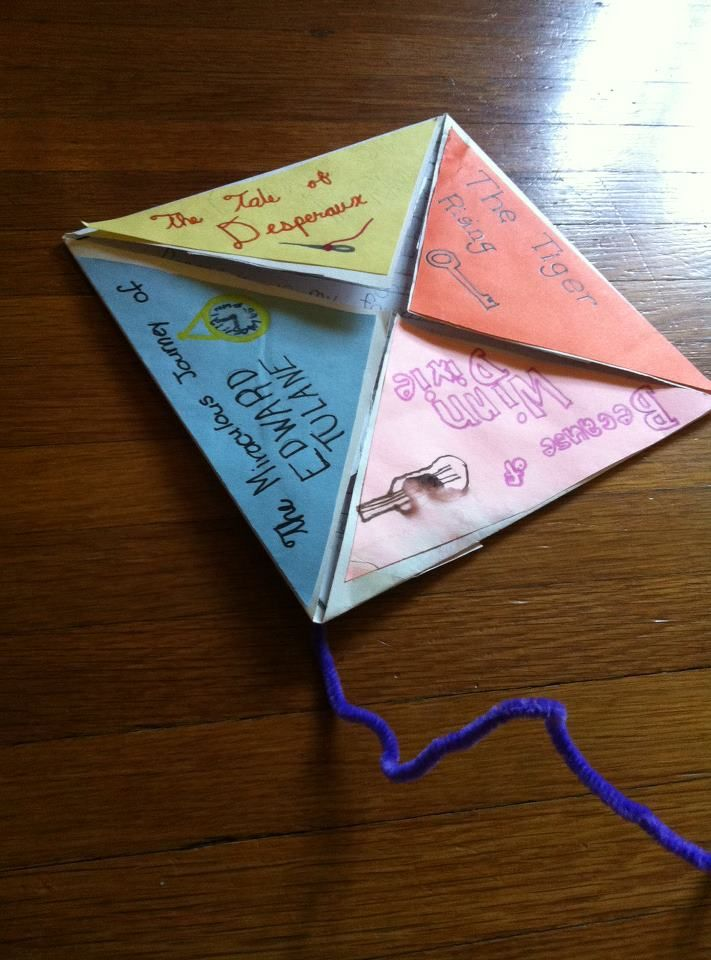 "Kate DeCamillo posted this on her Facebook page from a group of third graders who did an author study on her, then made these ""book kites""  when you lift the flap it has the students favorite quote from the book."
