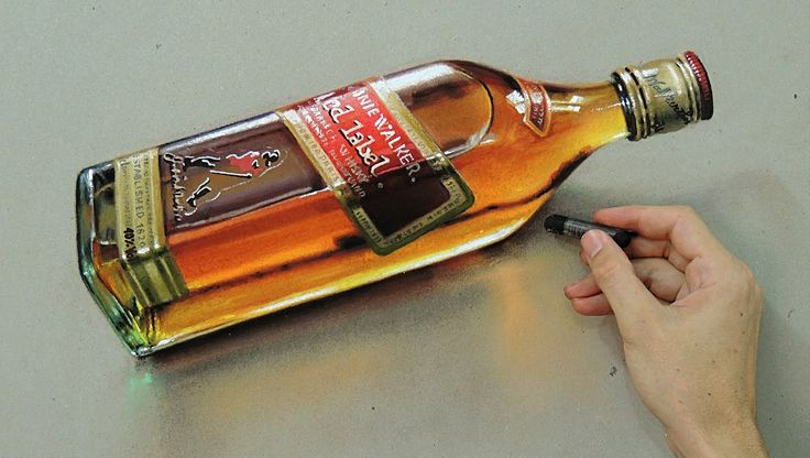 """Time Lapse: Whisky Red Label """"Bottle"""" - hyper-realistic art """"Fabiano Mil..."""
