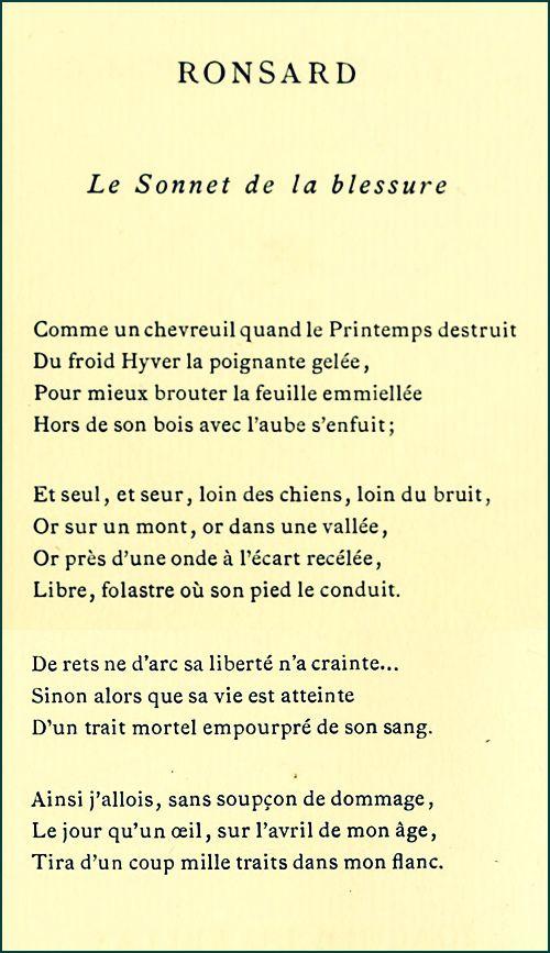 Ronsard - Le Sonnet de la blessure