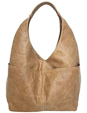 1b058b59a9 Distressed Camel Leather Hobo Bag w Pockets