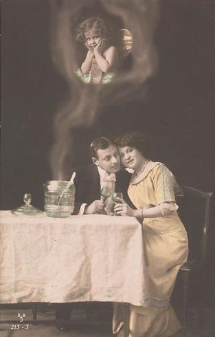 Artista desconocido, pareja con la figura de Cupido, ca. 1910, el Fondo de fotografía del siglo XX.