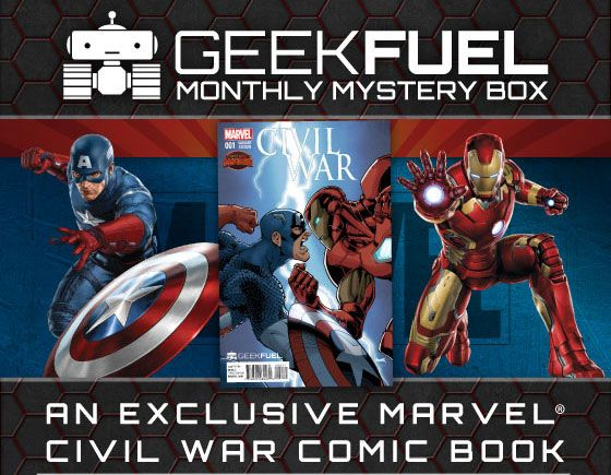 July's Geek Fuel box is 100% EXCLUSIVE and includes an exclusive Marvel Civil War Comic Boox!