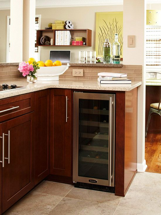 small kitchen openspace makeover built in wine coolersmall - Built In Wine Fridge