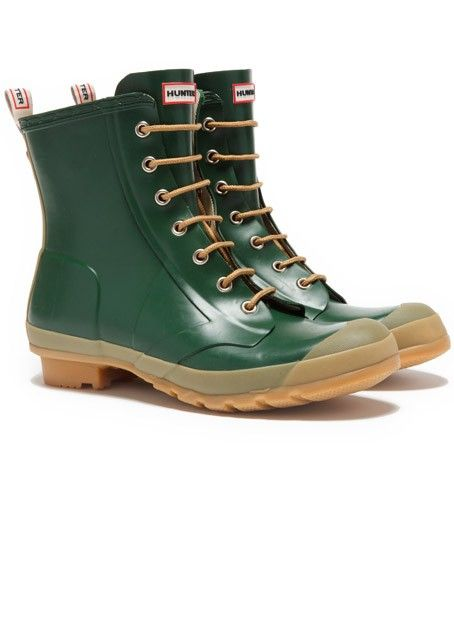 Hunter Bormio Green Combat Ankle Boots