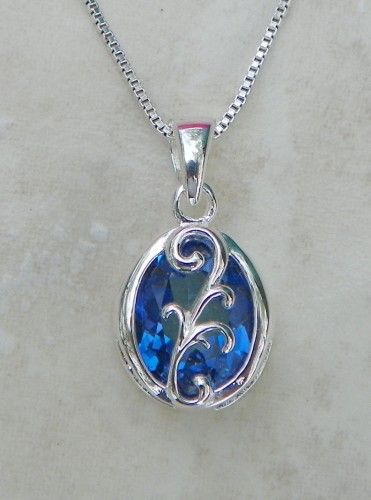Azotic Mystic Blue Topaz Jewelry Pendant Necklace, Sterling Silver | MaggieMays - Jewelry on ArtFire