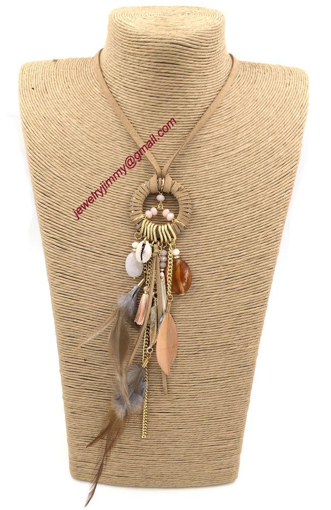 2015 новых персонализированных ручной работы ювелирные изделия поставщик уникальный бохо перо кулон длинные ожерелья лето стиль для женщин