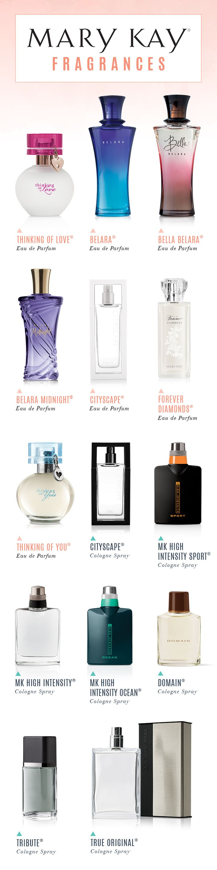 Explore a collection of scents for men and women to suit every mood, occasion and season, from romantic florals to woodsy musks to masculine colognes. | Mary Kay