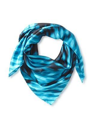 77% OFF Tahari Women's Silk Optical Print Square Scarf, Teal, One Size