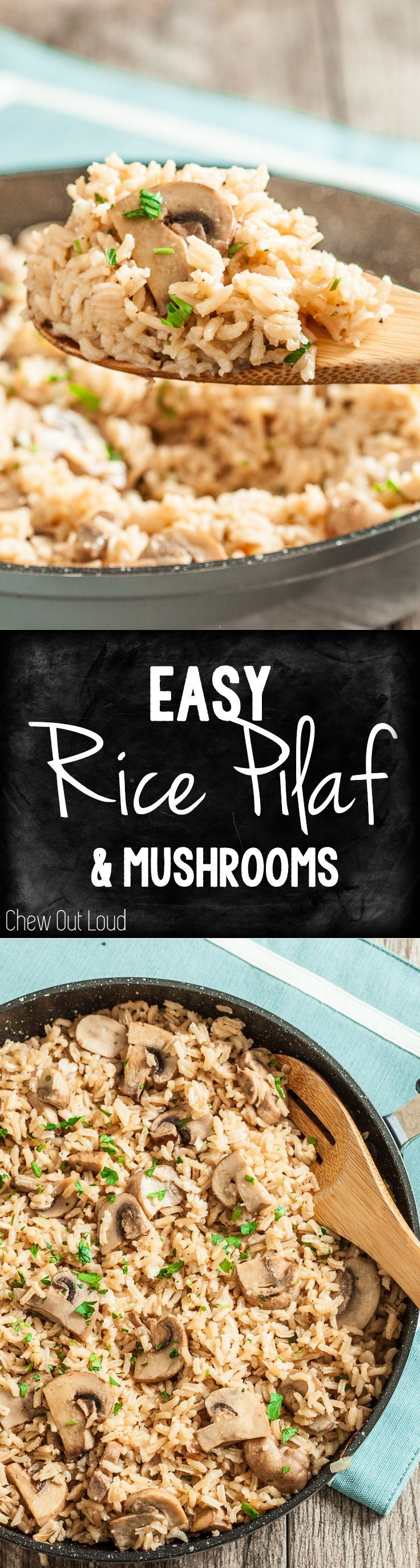 Easy, Delicious Rice Pilaf with Mushrooms. Fluffy, tender, and ultra flavorful. Irresistible dish any night of the week.