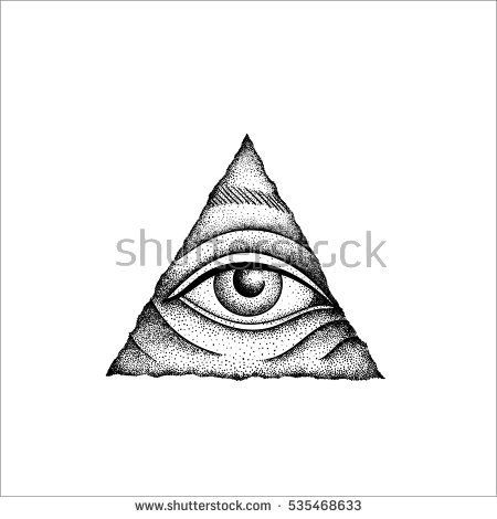 Eye of Providence. Masonic symbol. All seeing eye inside wooden triangle pyramid. New World Order. Freemason and spiritual, illuminati, religion, occultism. Vector illustration. Conspiracy theory.