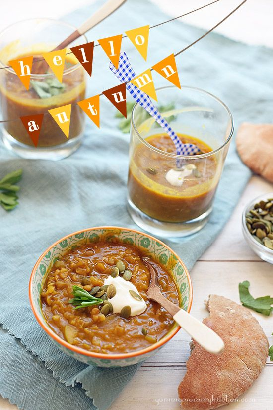 Yummy Mummy Kitchen: Curried Pumpkin Lentil Soup:
