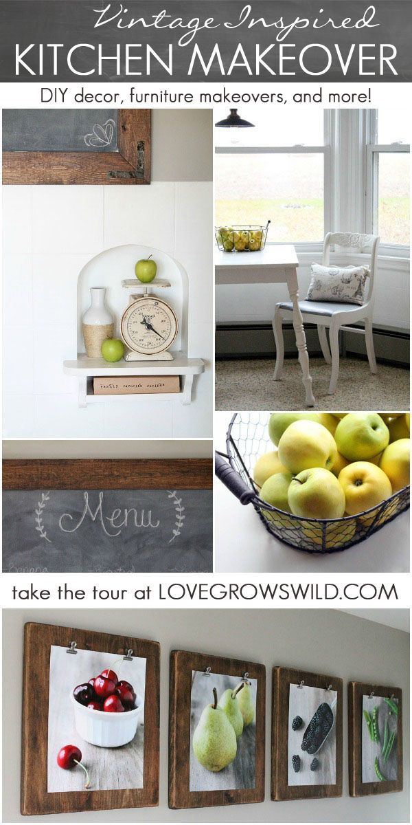 Take a tour of this beautiful Vintage-Inspired Kitchen Makeover! Lots of DIY projects tutorials to browse at LoveGrowsWild.com