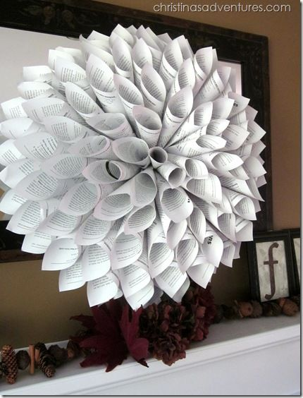 Beautiful Fall Mantel & Bookpage Wreath via @Christina Marie {Christina's Adventures}