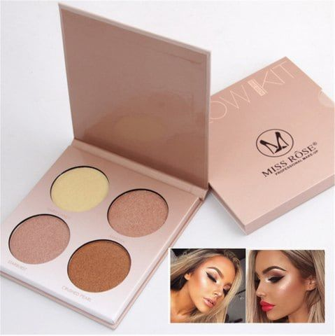 Miss Rose Brand Makeup 4 Colors Brighten Bronzer Highlighter Shimmer Matte Face Powder