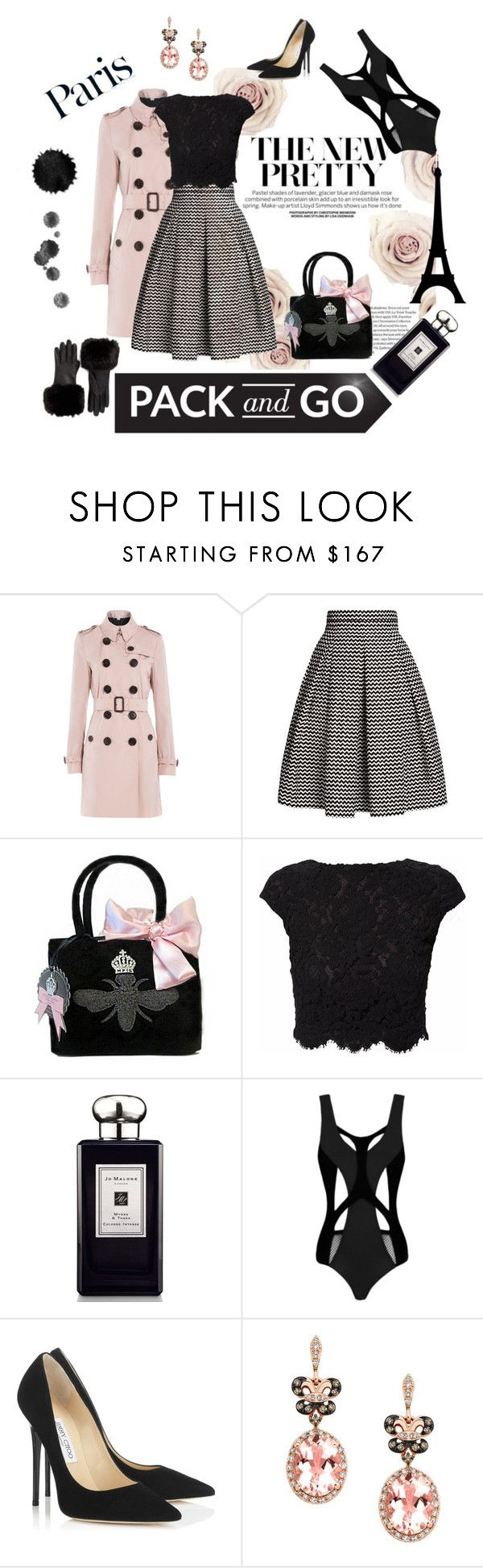 """Pack and go to Paris with class"" by celinnnne ❤ liked on Polyvore featuring Burberry, Rumour London, My Flat In London, WtR London, Jo Malone, MOEVA, Ted Baker, Jimmy Choo, Effy Jewelry and rose"