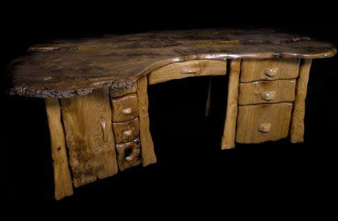 "Allan Lake sculpted furniture ""Earthwork Desk"""