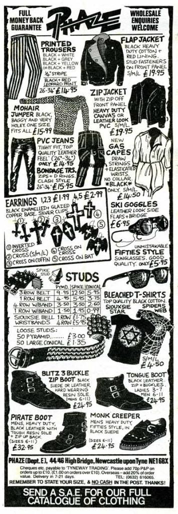 80's goth catalog - look at the prices! Had loads of clothes by phaze. They were small fittings though