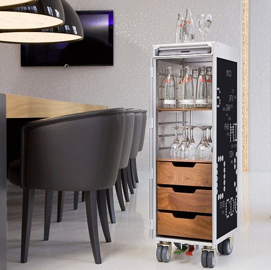 repurposed airplane trolleys into mini bars or extra storage for your home!