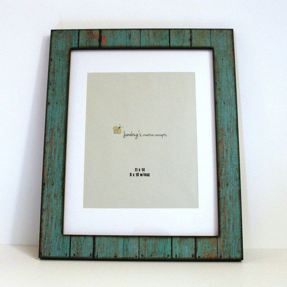 11x14 8x10 Mat Wood Photo Frame Weathered Rustic Turquoise
