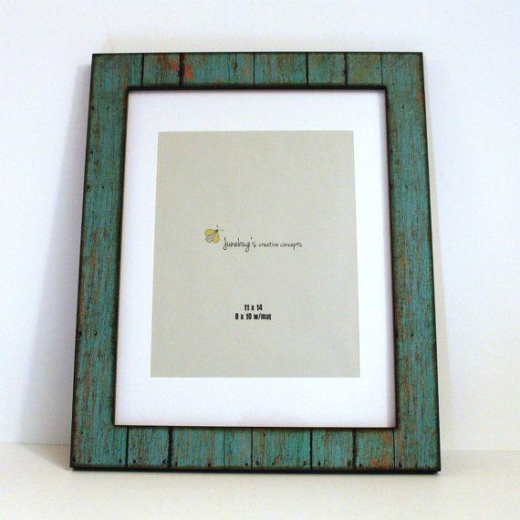 11 x 14 8 x 10 Mat hout fotolijstjes verweerde rustieke Turquoise ~ grote rustieke Frame ~ verweerde houten fotolijst ~ 11 x 14 Cotswolds Frame