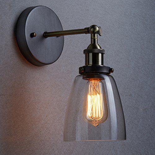 YOBO Lighting Industrial Edison 1 Light Wall Sconce Glass Shade Light Fixture: Amazon.co.uk: Lighting