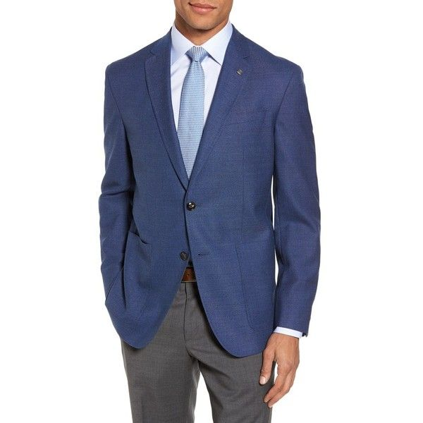 Men's Ted Baker London Kyle Trim Fit Wool Blazer (34.890 RUB) ❤ liked on Polyvore featuring men's fashion, men's clothing, men's sportcoats, mid blue, mens blazers, mens blazer jacket, mens clothing, men's sportcoats and blazers and men's apparel