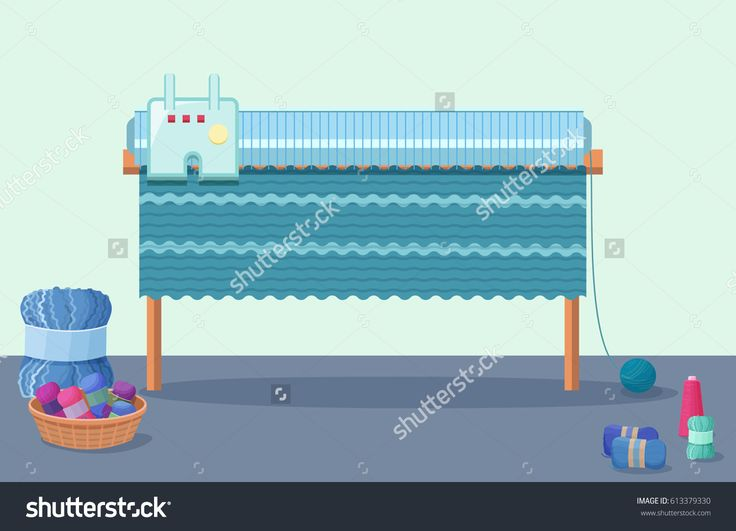 Knitting machine vector illustration in flat style with wool yarn skeins and handmade hobby and needlework accessories