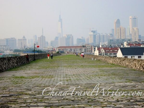 Nanjing's skyline from the Ming Dynasty city wall. (That tall building is the 8th tallest tower in the world, the Zifeng Tower.)