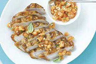 BBQ pork chops w/ papaya salsa