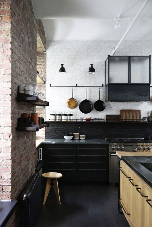 black kitchen backsplash and cabinets / sfgirlbybay