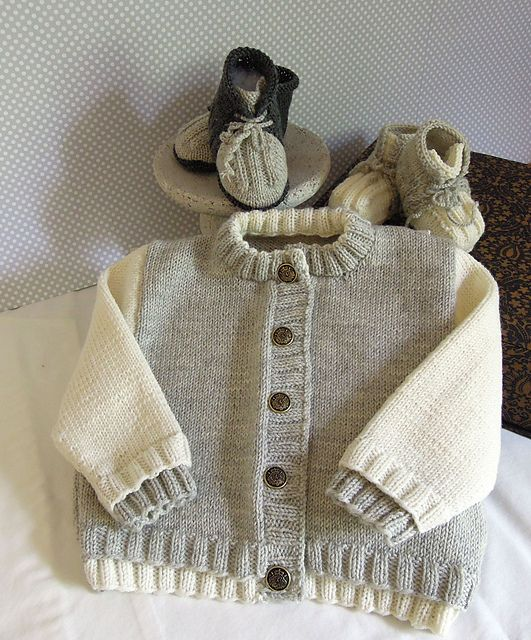 Baby sweater with matching boots - P032 by OGE Knitwear Designs - AU$5.00 AUD